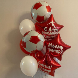 Букет из воздушных шаров с футбольными мячами и звездами для тренера