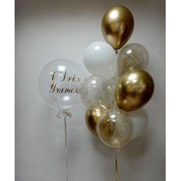 Композиция из гелиевых шаров на День учителя с шаром с перьями