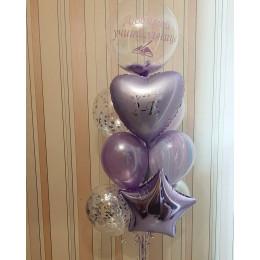 Букет из шаров с шаром с перьями, сердцем и звездой любимой учительнице