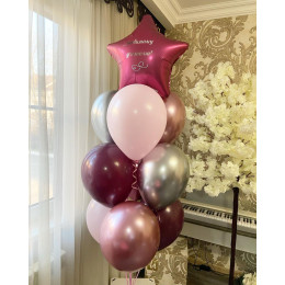 Фонтан из воздушных шаров со звездой любимому учителю