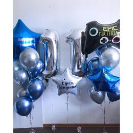Композиция из гелевых шаров на 11 лет с Геймпадом и большой звездой на День Рождения