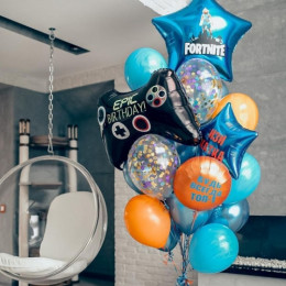 Композиция из гелевых шариков на День Рождения с джойстиком и вашими поздравлениями