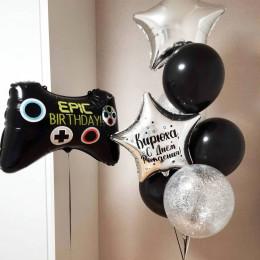 Букет из гелиевых шариков на День Рождения с джойстиком геймеру