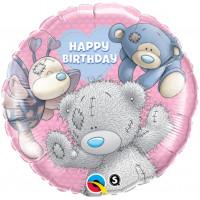 Шар-круг Happy Birthday (мишка Тедди с друзьями)