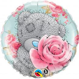 Шар-круг Мишка тедди с розами