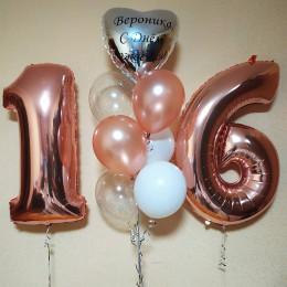 Композиция из шариков с именным сердцем на 16 лет дочке