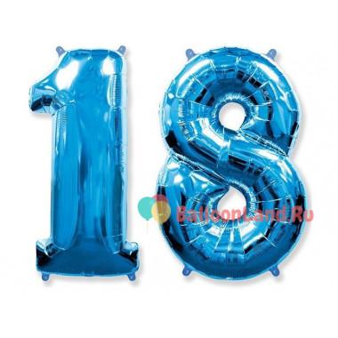 Комплект цифр 18 голубого цвета с гелием