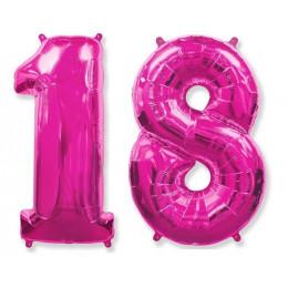 Комплект цифр 18 розового цвета с гелием