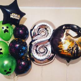 Композиция из гелевых шариков Звездные Войны и Майнкрафт на восемь лет