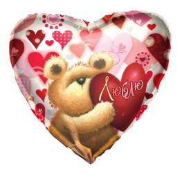 Шар-сердце I love you с медвежонком