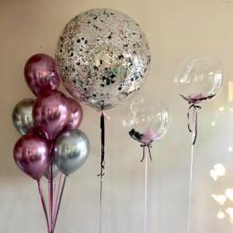 Сет из шариков хром , с шарами с перьями и большим шаром с конфетти