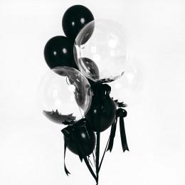 Букет гелевых шариков черный с перьями - Стильный