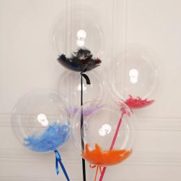 Набор шаров баблс с перьями разных цветов