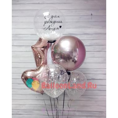 Букет из воздушных шариков Золотой с шаром с белыми перьями
