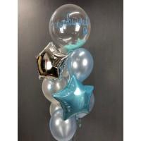 Фонтан из шариков на годовщину с шаром перьями и звездами