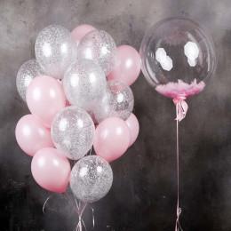 """Композиция из шариков """"Воздушная"""" с шаром с перьями"""