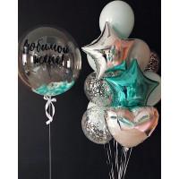 Композиция из воздушных шаров Любимой жене с шаром с перьями