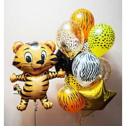 Композиция из шариков с гелием сафари с тигренком и звездами