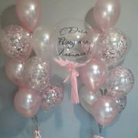 Композиция из шаров нежных оттенков любимой на День Рождения