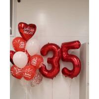 Композиция из шариков с гелием на 35 лет любимой жене