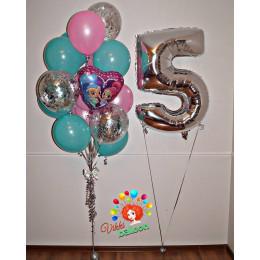 Композиция из шариков с мультперсонажами Шиммер и шайн с цифрой и шарами с конфетти