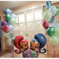 Композиция из шаров с гелием с героинями м/ф Шиммер и Шайн с двумя букетами шаров