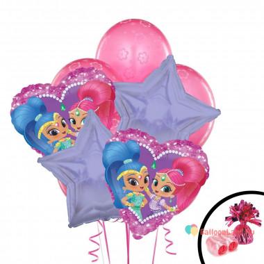 Букет из воздушных шаров с Шиммер и Шайн со звездами