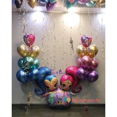 Композиция из гелиевых шариков Шиммер и Шайн с шарами хром