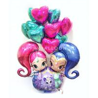 Набор гелиевых шариков Шиммер и Шайн с букетом сердец