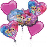 Букет шариков Шиммер и Шайн с розовыми сердцами