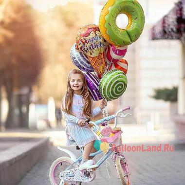 Букет гелиевых шариков Мороженое с пончиком и леденцами