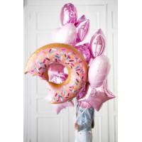 Букет шаров с Пончиком в розовых тонах