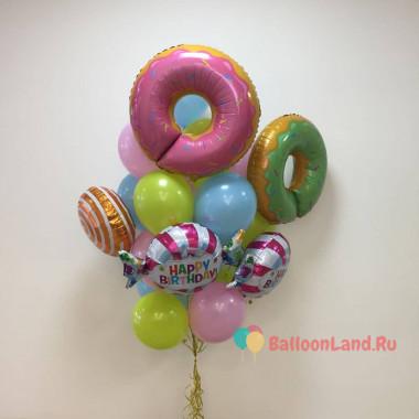 Букет из шариков Пончики с конфетками