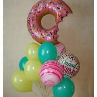 Букет шаров с гелием Пончик с агатами
