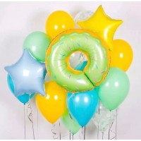 Сет из шаров Зеленый Пончик со звездами