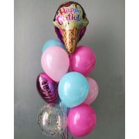 Фонтан из шаров на День Рождения с рожком мороженного