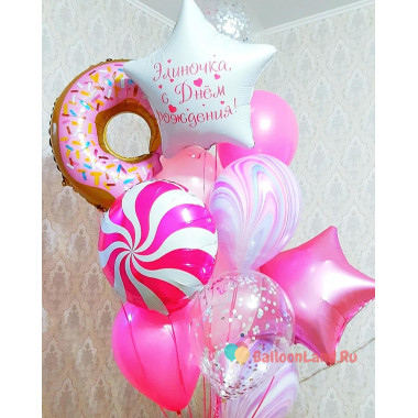 Букет гелиевых шариков с Пончиком, леденцом и звездой с вашими поздравлениями
