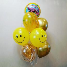 Букет из шариков с гелием Принцесса Розочка со смайлами
