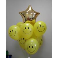 Букет шариков Смайлики со звездой
