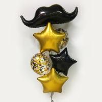 Букет из шариков черно-золотой с Усами