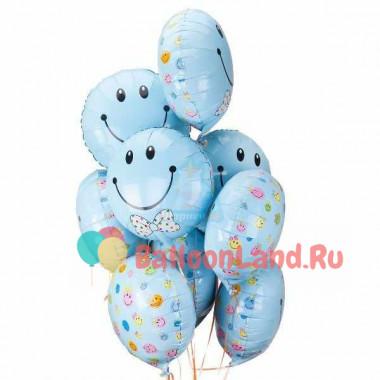 Букет воздушных шаров Голубые смайлы