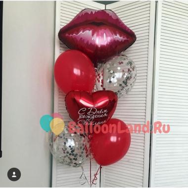 Букет гелиевых шаров Губки с сердцем с индивидуальными пожеланиями