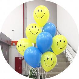 Букет из гелевых шариков Смайлы с голубыми шарами