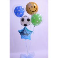 Сет из гелиевых шариков Смайл со звездой и футбольным мячом