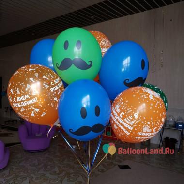 Букет гелиевых шаров Усатые смайлы на День Рождения