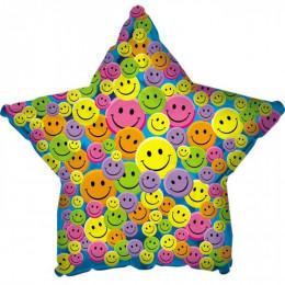 Шар-звезда Разноцветные смайлики (синий)