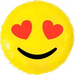 Шар-круг Смайлик с сердечками на глазах