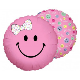 Шар-круг розовый смайлик