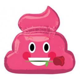 """Фигурный шар Смайлик """"какашка"""" с розой в зубах"""