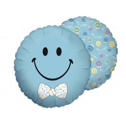 Шар-круг Голубой смайлик с бантиком